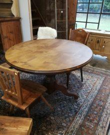 runder Tisch, Esszimmertisch, Säulenfusstisch, Massivholztisch